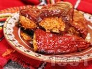 Пълнени постни сушени червени чушки с ориз на фурна